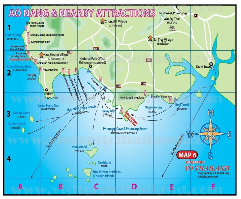 Ao Nang Beach and Nearby Map