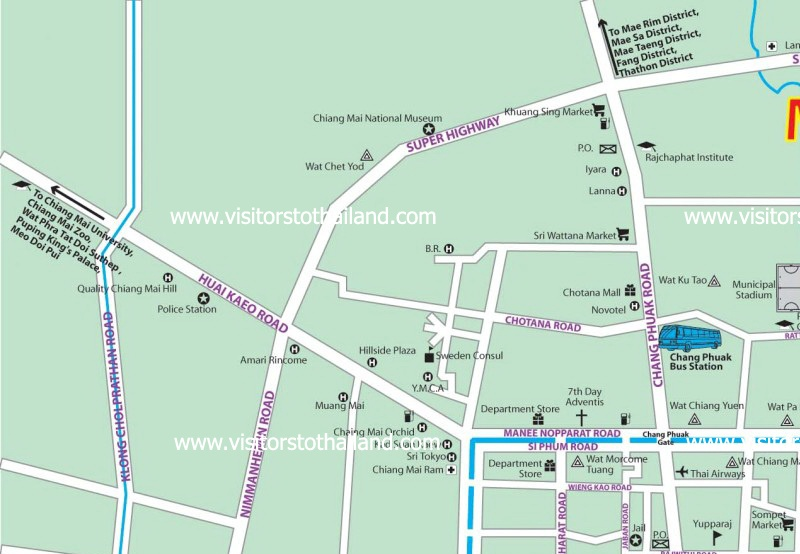 Chiang Mai City Map Part 1: Click for enlarge