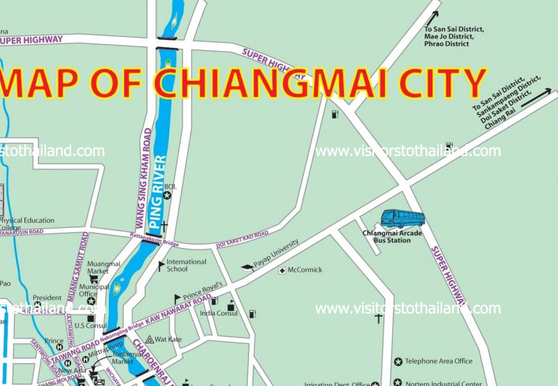 Chiang Mai City Map Part 2: Click for enlarge