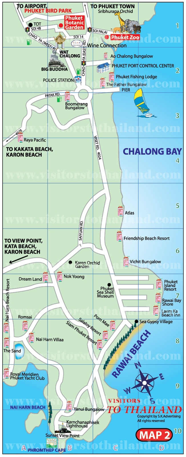 Chalong Bay and Rawai-Naiharn Beaches Map