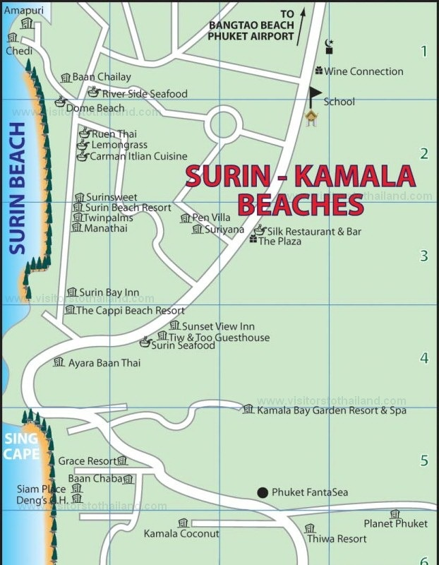 Surin and Kamala Beach Map